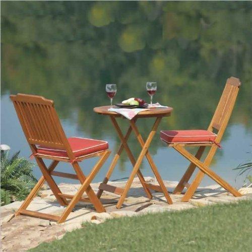 Best Buy Outdoor Interiors Acacia 3 Piece Round Bistro Outdoor Furniture Set
