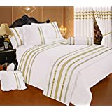 Glamour White With Gold Trim, Emperor Size Bed Duvet / Quilt Cover Set, Luxurious 200 Thread Count 100% Egyptian...