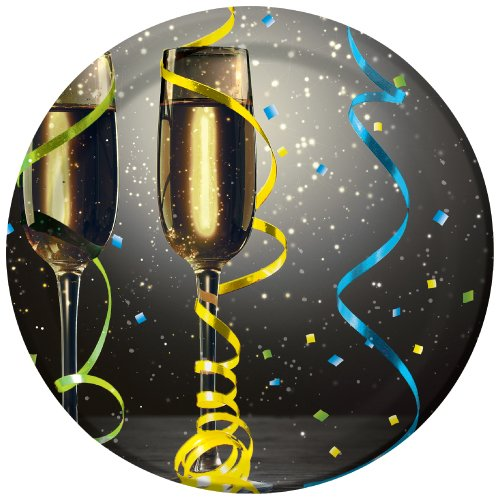 Creative Converting 416430 8 Count Paper Dessert Plates, New Year Pop, Black/Gold