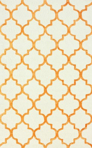 nuLOOM Hacienda Collection 75-Percent Wool, 25-Percent Viscose Area Rug, 2-Feet 6-Inch by 10-Feet, Trellis, Tangerine