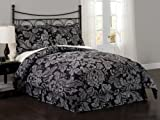 Sketch Damask Collection 7-Piece Comforter Set, Queen, Black and Silver