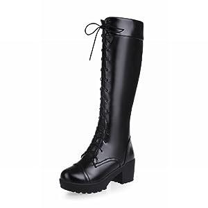 Show Shine Women's Platform High Chunky Heel Knee High Tall Boots Riding Boots (9.5, black)