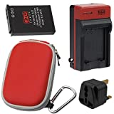 EZOPower EN-EL12 Rechargeable Battery + Charger + Red Compact Case for Nikon COOLPIX S6300, S6200, S6000, S8000, S70 Digital Camera
