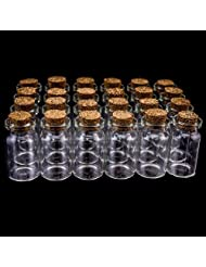 24 Mini Glass Jars with Cork Stoppers (10ml.) by Bold Star