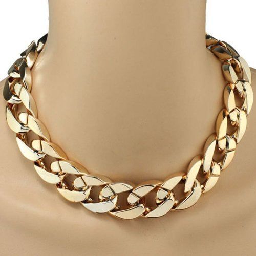 Niceroker Hot Shiny Link Id Celebrity Style Alloy Choker Necklace Chunky Chain