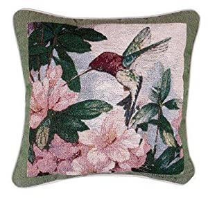 Amazon.com: Hummingbird Garden Decorative Tapestry Toss Pillow USA ...