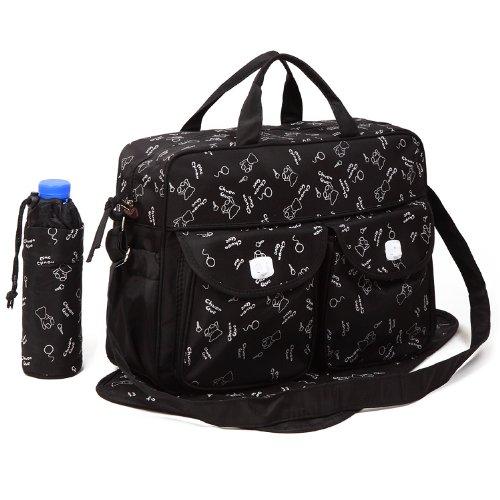 Black 3pcs Baby Diaper Nappy Changing Bag Set C:Bear Design