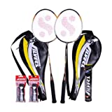 Silver Lagend Badminton Racket With 3/4 Cover (2 Racket) + 1 Marvel Shuttlecock + 2 Pvc Grip