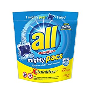 All Mighty Pacs Laundry Detergent, Stainlifter, 72 Count
