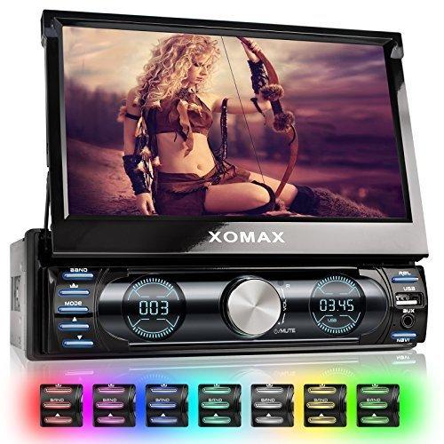 XOMAX XM-VRSUN729 Autoradio / Moniceiver / Naviceiver con navigatore GPS e cartografia europea + Funzione vivavoce Bluetooth + Display schermo touchscreen 7'' pollici / 18cm, risoluzione HD, 800 x 480 px, 16:9 + Porta USB (128 GB) + Slot per schede Micro SD (128GB) + senza lettore CD + MPEG4, MP3, WMA, JPEG, ecc. + Ingresso per telecamera retromarcia + Ingresso per comandi al volante e uscita subwoofer + Dimensioni standard DIN1 + Telecomando, plancia, mascherina
