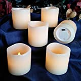 LED Lytes Real Wax Battery Operated Flameless Candles ~ Set of 6 - 2 inches x 2 inches ~ Ivory Colored Wax with a Flickering Amber Yellow Flame ~ Weddings, Parties, Mother's Day