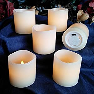 LED Lytes Real Wax Battery Operated Flameless Candles ~ Set of 6 - 2 inches x 2 inches ~ Ivory Colored Wax with a Flickering Amber Yellow Flame ~ Weddings, Brides, Parties, Gifts