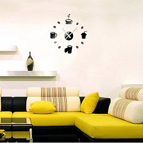 rybyte (TM) per DIY Specchio Orologio da parete Set Fashion Acrilico combinazione 3d cristallo adesivo, Nero, casa decorazione adesivo de parede