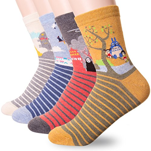 danis-choice-famous-japanese-animation-print-crew-socks-onesize-4-pairs
