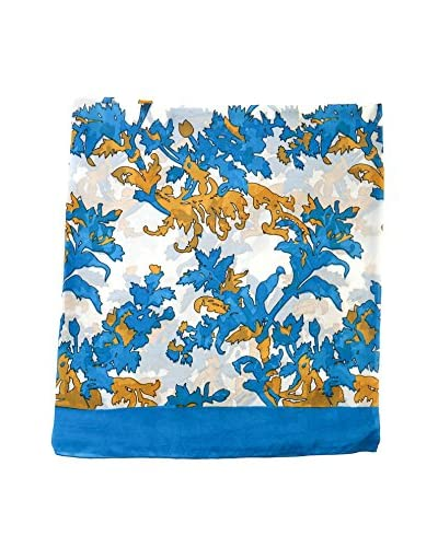 Alibey Fular de seda dibujo hojas Azul