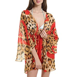 Pinkyee Women's Red Leopard Honolulu Summer Beach Shirt One Size Red
