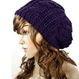 Winter Lady Women Baggy Beret Chunky Knit Knitted Braided Beanie Hat Ski Cap Purple