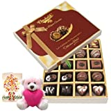20pc Dark And Milk Chocolate Box With Birthday Card And Teddy - Chocholik Belgium Chocolates