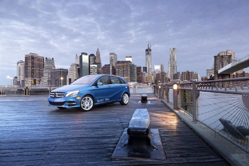 """Mercedes-Benz B-Class Electric Drive Car Art Poster Print On 10 Mil Archival Paper Blue Front Side City View 20""""X15"""""""