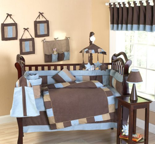Soho Blue and Brown Infant Boy Nursery Baby Bedding 9 Pc Crib Set