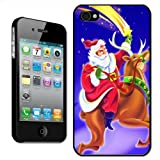 Fancy A Snuggle 'Santa Claus Riding a Reindeer Catching A Shooting Star' Clip On Back Cover Hard Case for Apple iPhone 4/4S