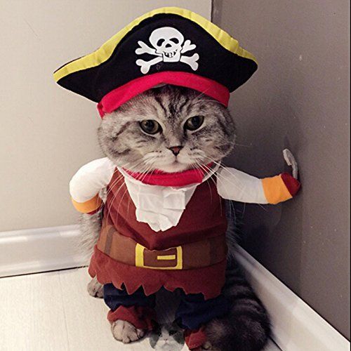 [PANPET New Funny Pet Clothes Caribbean Pirate Dog Cat Costume Suit Corsair Dressing up Party Apparel Clothing for Cat Dog Plus Hat] (Pirate Cat Costume Video)