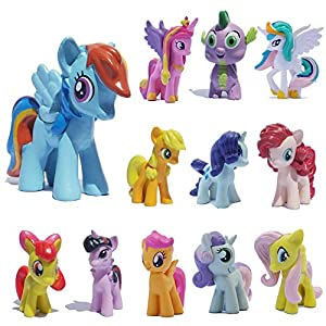 PIHOT Set of 12pcs My Little Pony Action Figures Lot Spike Celestia Rainbow Dash Pony Cake Toppers