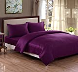 Honeymoon 100% Cotton 400 Thread Count Breathable Fade-resistant 4PC Bedding Sheet Set Queen/King/CK, Deep Pockets, Easy Care - Purple