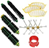 TOP-MALL Bristle Brushes & Flexible Beater Brushes & Side Brushes 6-Armed & Filters & Brush Cleaning Tool Pack Mega Kit for iRobot Roomba 500 Series Roomba 510, 530, 535, 540, 560, 570, 580, 610 Vacuum Cleaning Robots all Green, Red, Black cleaning head