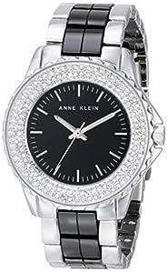 Anne Klein Women's AK/1627BKSV Swarovski Crystal Accented Silver-Tone and Black Ceramic Bracelet Watch