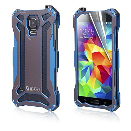 Aestar® Premium Ultra Thin Coolest Ironman Shockproof Metal Case Front And Back Protective Cover With Tempered Glass Screen Protector Lanyard Screws & Screwdriver Cleaning Tools For Samsung Galaxy S5 I9600 (Blue)