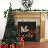 7.5' Pre-Lit Pop Up Green Holly Leaf Artificial Christmas Tree - Clear Lights