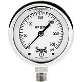 "Winters PFP Series Premium Stainless Steel 304 Single Scale Liquid Filled Pressure Gauge, 0-300 psi, 2-1/2"" Dial Display, +/-1.5% Accuracy, 1/4"" NPT Bottom Mount"