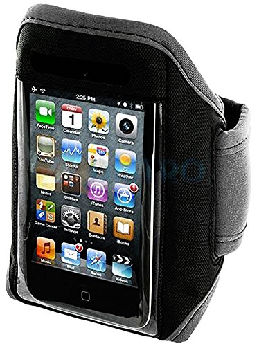 Mylife (Tm) Classic Gray + Black Velcro Strap (Light Weight Neoprene + Secure Running Armband) For Apple Ipod 1St, 2Nd, 3Rd And Ipod 4/4S 4Th Generation Itouch (1G/2G/3G/4G) (Universal One Size Fits All + Velcro Secured + Adjustable Length + Sealed Inside