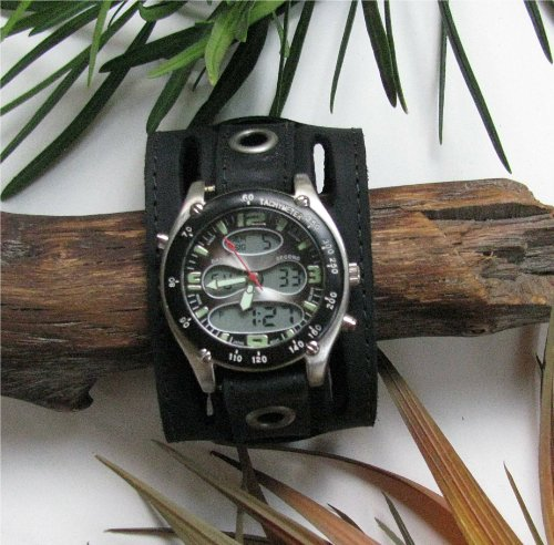 """THE """"HENRY'S"""" AGED BLACK LEATHER 2"""" WIDE WATCHBAND"""