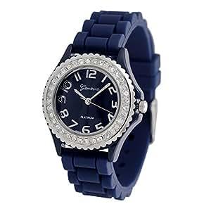 Navy Blue Geneva Silicone Ceramic Style Band Crystal Bezel Women's Watch - S Size