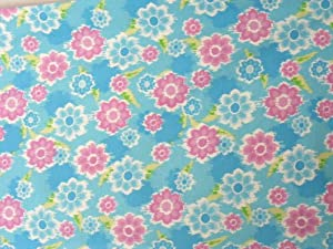 Floral, Childrens Flannel Fabric Cheater Quilt Top Material,CFL4