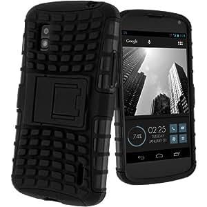 Avizar - Coque Antichocs LG Google Nexus 4 - Housse Silicone Gel Quadro Support intégré - Noir