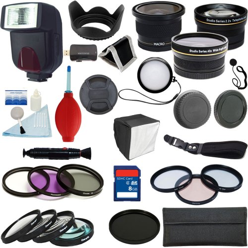 Plr Optics 52Mm Complete Pro Essential Premium Kit - Includes: Ttl Flash + 0.42X Fisheye Lens + 0.43X Wide Angle Lens + 2.2X Telephoto Lens + Filter Kit (Uv, Cpl, Nd9, Fld) + Macro Close Up Set (+1, +2, +4, +10) + Special Effects Kit (4Xstar, Soft Focus,