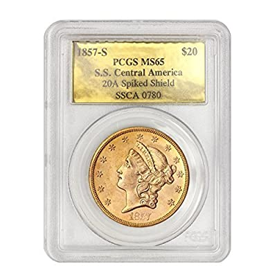 1857 S Liberty Head, No Motto Above Eagle $20 MS65 PCGS