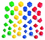 EDX Education - Shapes - Hollow 3D Geometric Shapes (Four Colours, 40 Pieces)