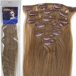 20\'\'7pcs Fashional Clips in Remy Human Hair Extensions 24 Colors for Women Beauty Hot Sale (#12-light brown)