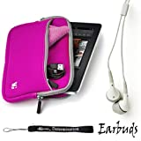 51QPRXUWy2L. SL160  Magenta   Gray Trim Slim Protective Soft Neoprene Cover Carrying Case Sleeve with Extra Pocket // Fits Anywhere// For Amazon Kindle Fire Full Color 7 Multi touch Display, Wi Fi (Newest Tablet) + Includes a Crystal Clear High Quality HD Noise Filter Ear buds Earphones Headphones ( 3.5mm Jack )
