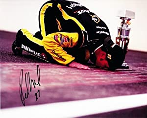 Buy AUTOGRAPHED 2011 Paul Menard #27 BRICKYARD WIN (Kissing the Bricks) 8X10 Photo by Trackside Autographs