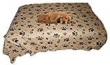 Dog Blanket Fleece Throw Beige Paw Print, Cozy Animal Planet - Quality Large Throw - 60