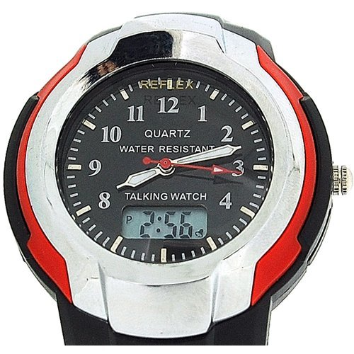 Reflex Gents Analogue Digital Talking Black Plastic Strap Watch TALK200