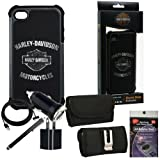 Harley Davidson Black Cover 07432 for iPhone 4s, 4. Comes with 3ft Charging Cable, USB Car Charger, USB House Charger, Metal Clip Horizontal Velcro Case with Belt Loop, Stylus Pen and Radiation Shield. Reviews