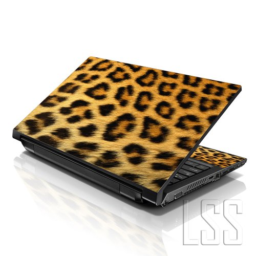 LSS 17 17.3 inch Laptop Notebook Husk Sticker Cover Art Decal Fits 16.5 17 17.3 18.4 19 HP Dell Apple Asus Acer Lenovo Asus Compaq (Delivered 2 Wrist Pad Included) Leopard Print