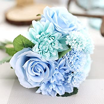 Meiliy 1 Bunch 8 Pcs Artificial Rose Dahlia Daisy Flower Bouquet Bride Bridesmaid Holding Flowers For Home Hotel Office Wedding Party Garden Craft Art Decor, Tiffany Blue