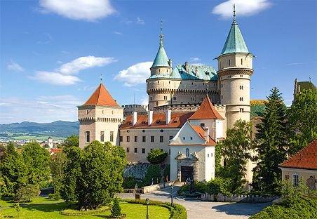 PUZZLE 1000 Teile - Schloss Bojnice Weinitz Landschaft Burg Schloß - Castle Schlößer Traumschloß Motiv